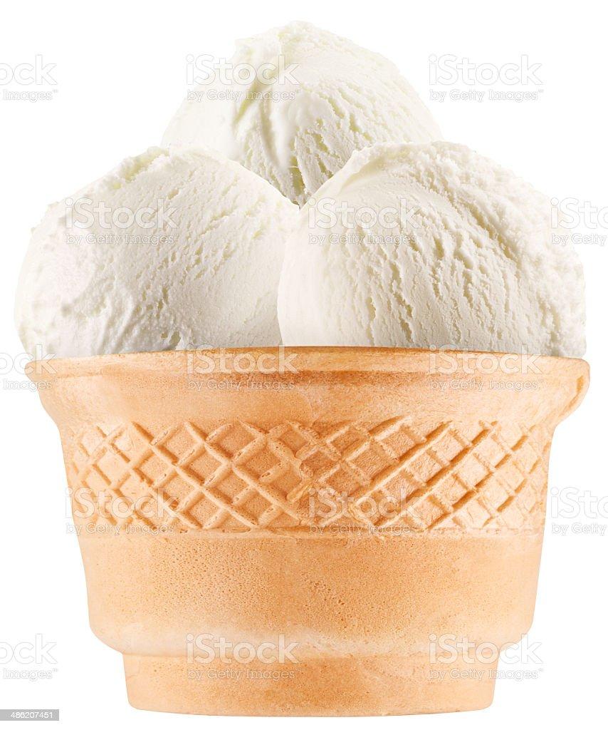 Vanilla ice-cream balls in waffle cup. stock photo
