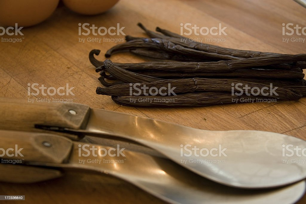 Vanilla in kitchen stock photo