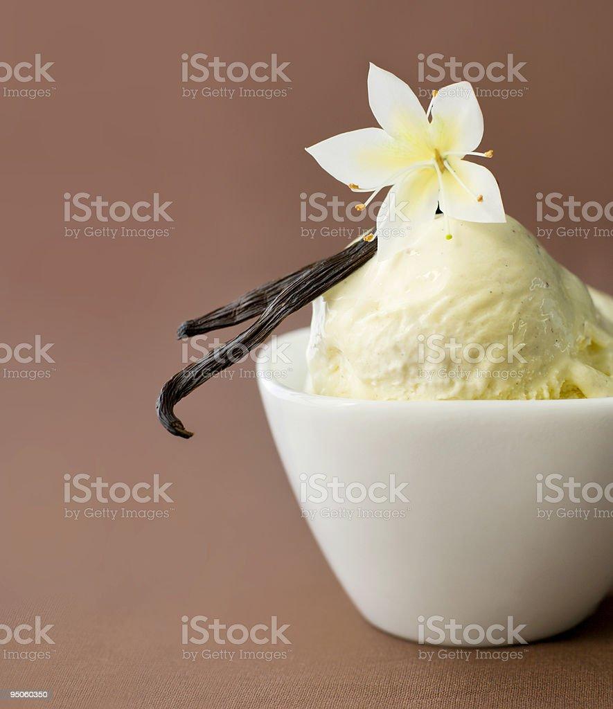 Vanilla on ice-cream in a bowl stock photo