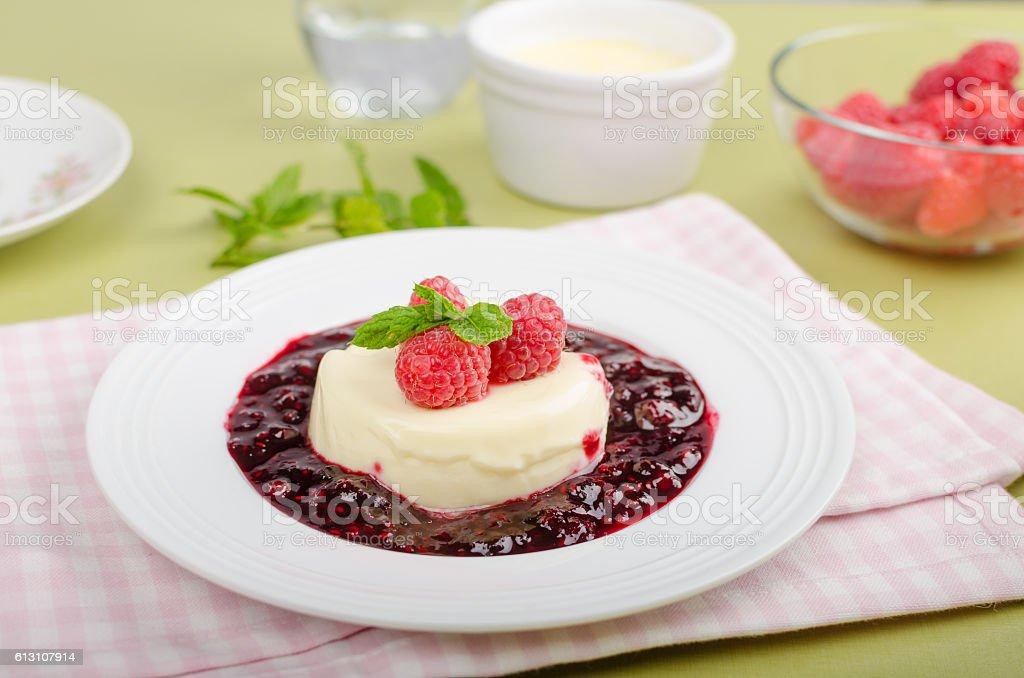 Vanilla panna cotta stock photo