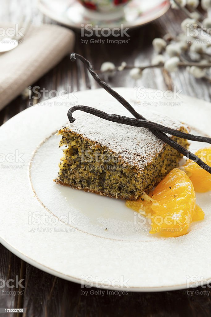 vanilla pie with poppy seeds and orange royalty-free stock photo