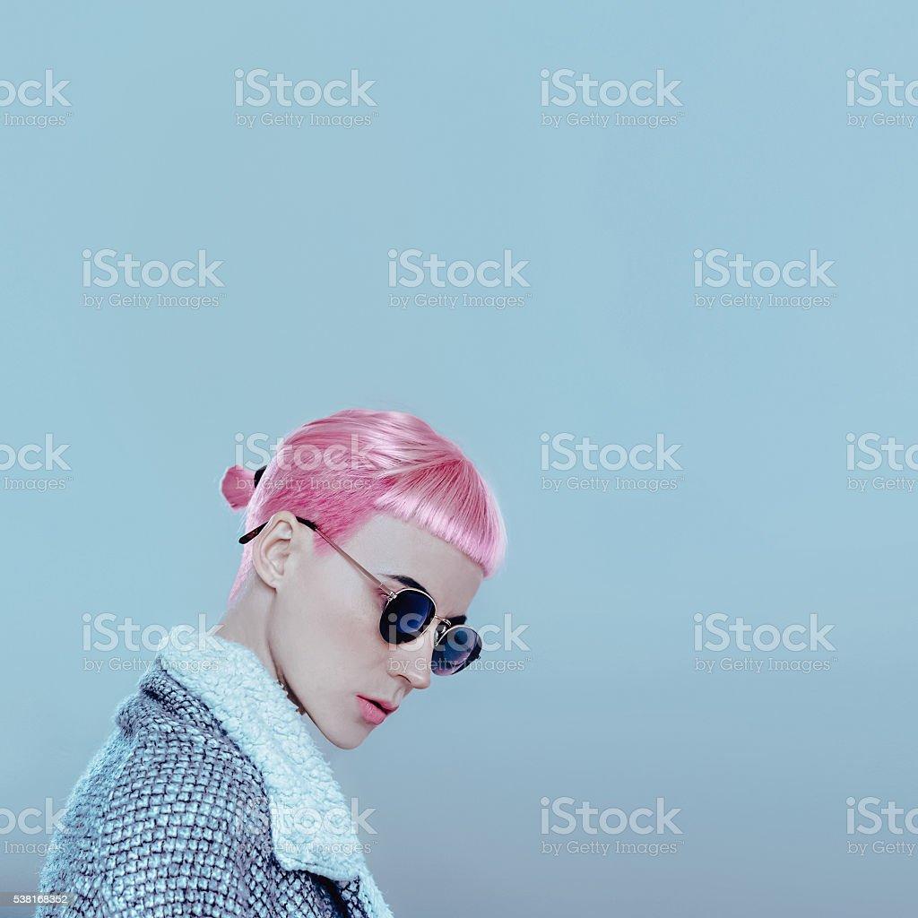 Vanilla pink hair. Pop style fashion Lady stock photo