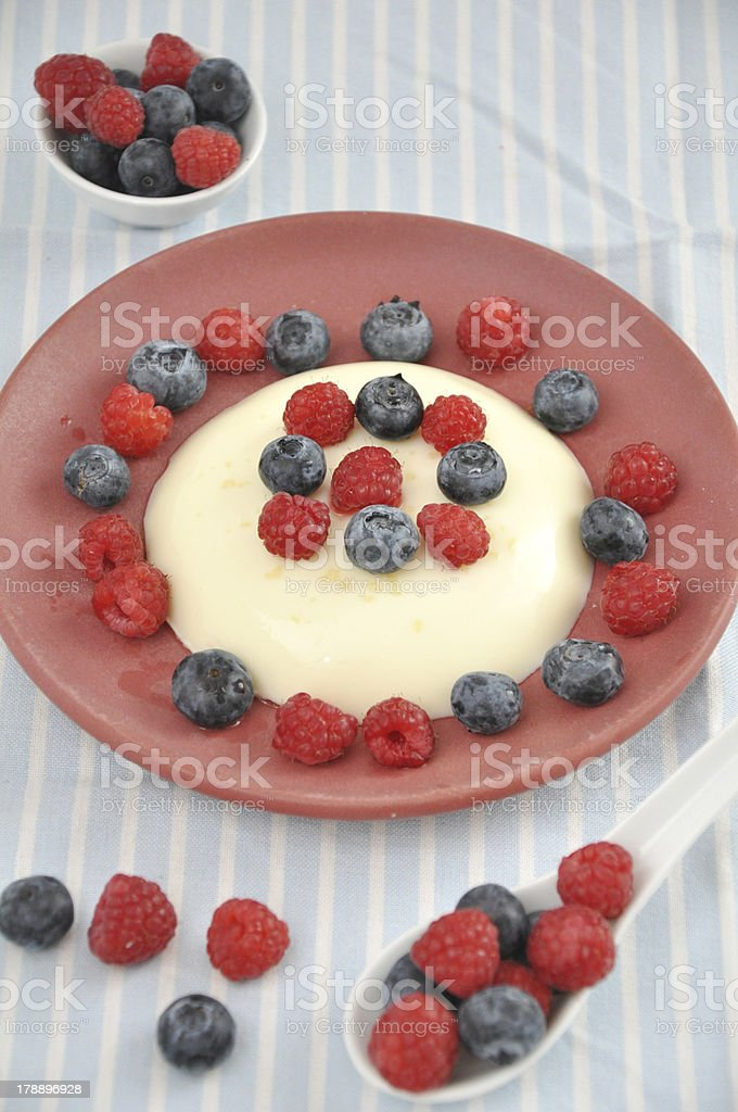 Vanilla Pudding with fresh berries royalty-free stock photo