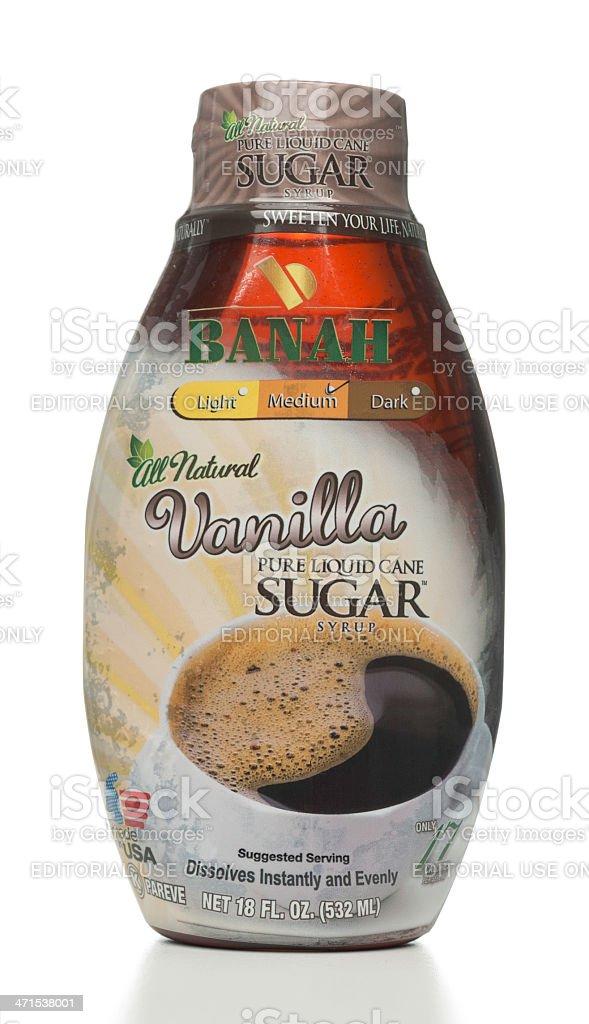 BANAH Vanilla Pure Liquid Cane Sugar Syrup bottle stock photo