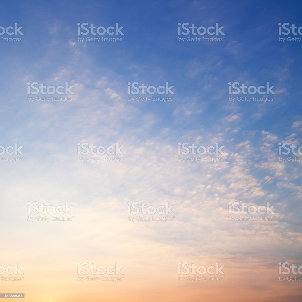 Vanilla sky with white small clouds stock photo