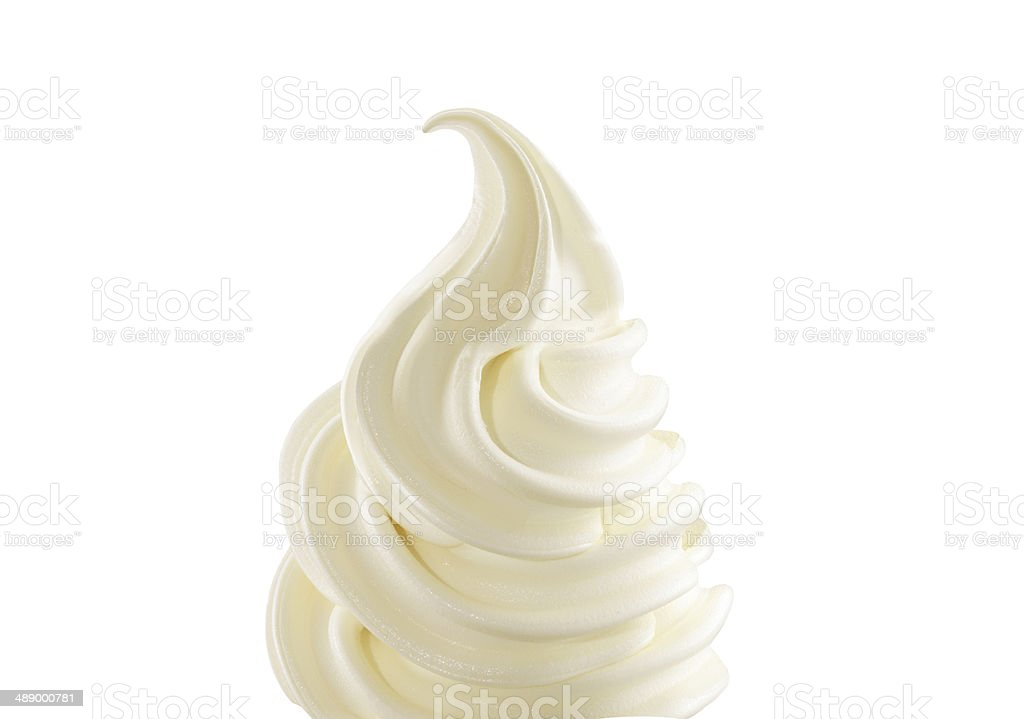 Vanilla soft ice cream on white background stock photo
