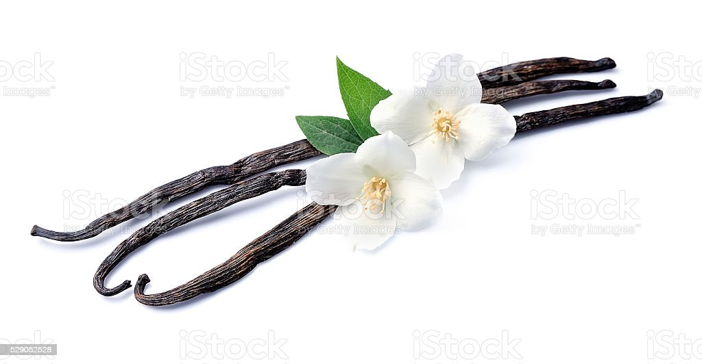 Vanilla sticks with flowers stock photo
