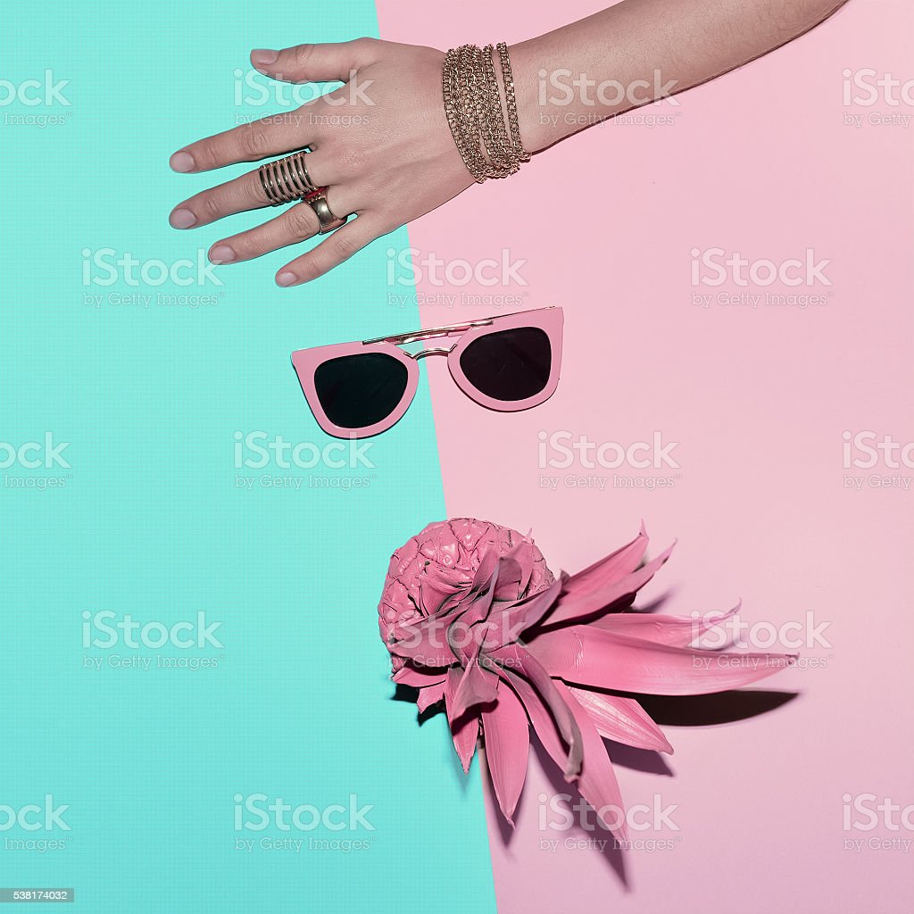 Vanilla Tropical Summer. Fashion Accessories. Jewelry and Pink S stock photo