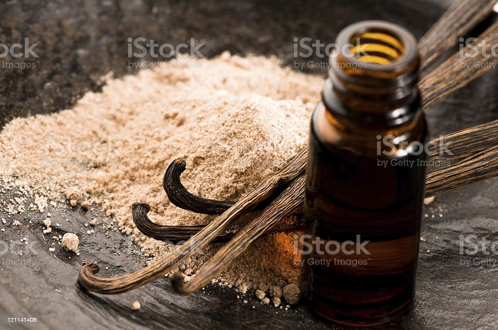 Vanilla With Bottle Of Essential Oil And Powder- Beauty Treatment stock photo
