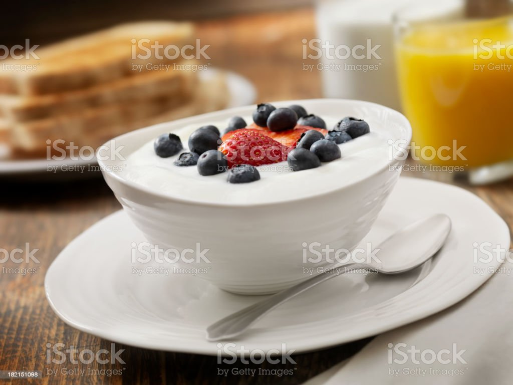 Vanilla Yogurt with Fresh Fruit stock photo