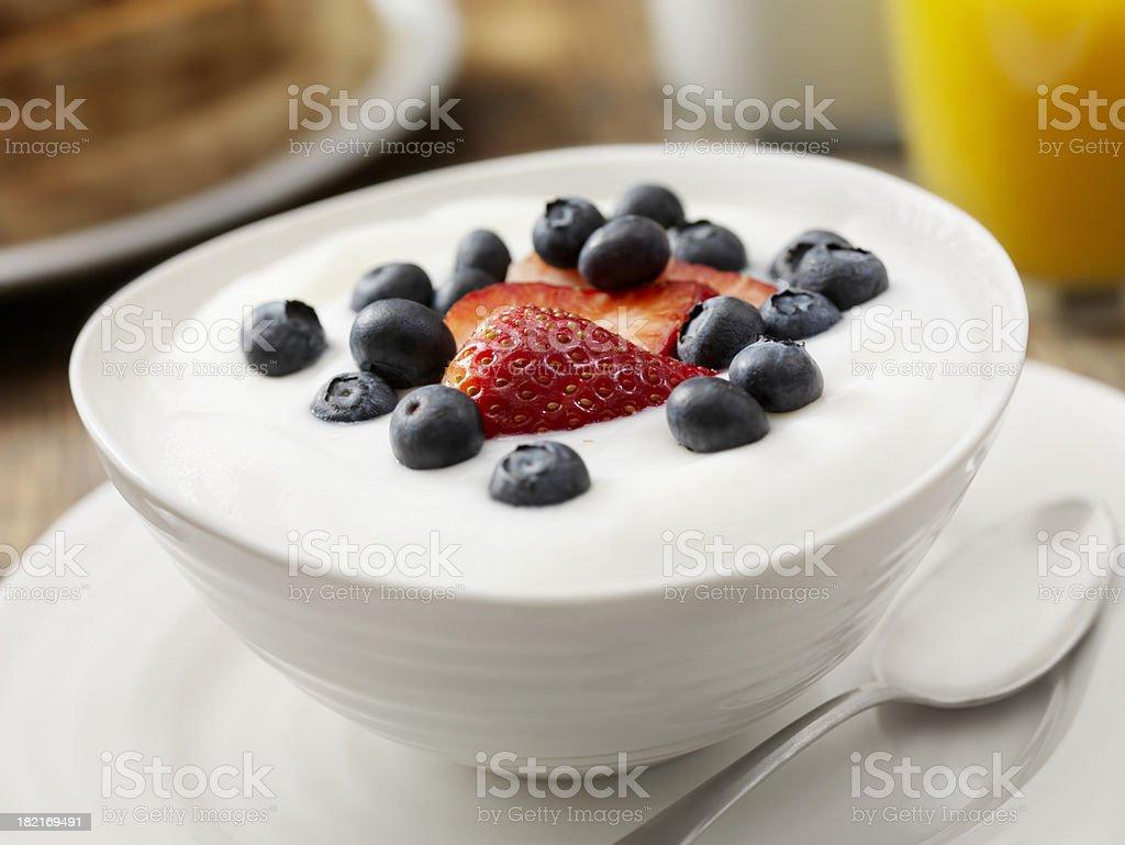 Vanilla Yogurt with Fresh Fruit royalty-free stock photo