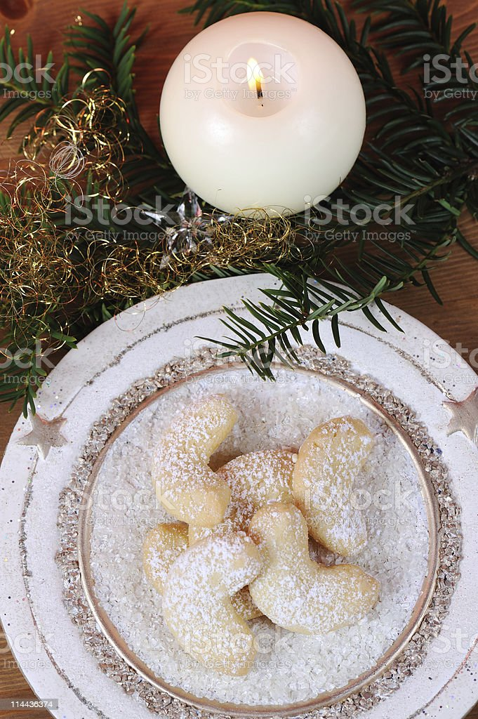 Vanille Cornets with White Candle and Knobs  TopView stock photo