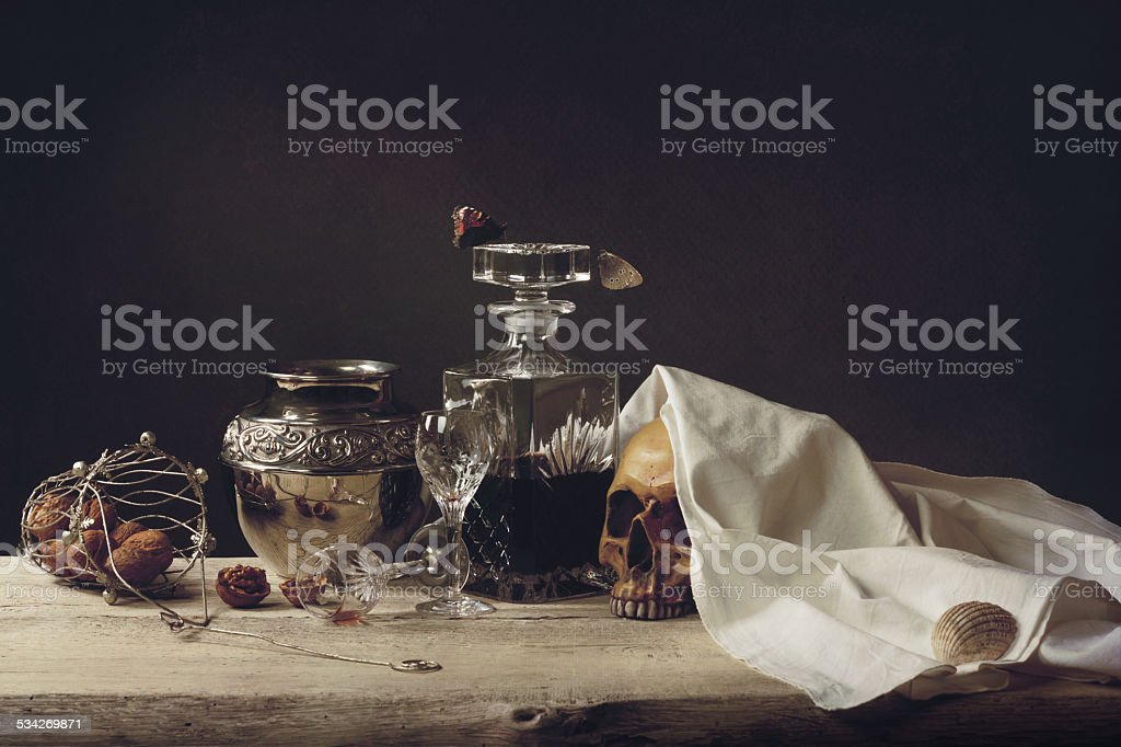 Vanitas Life, death and resurrection stock photo