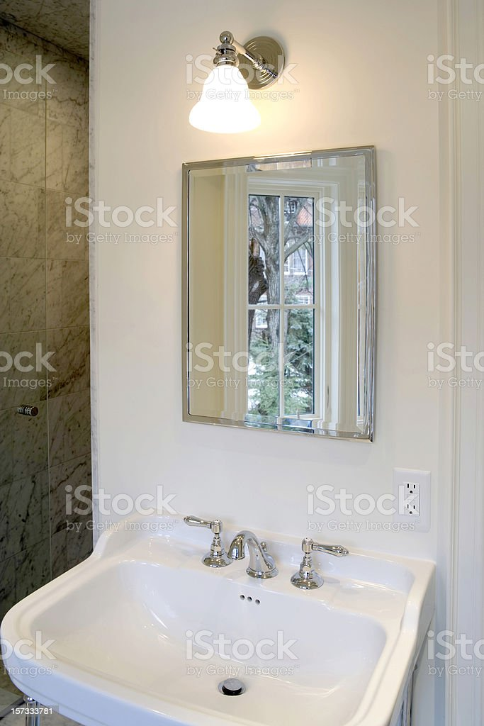Vanity mirror and sink royalty-free stock photo