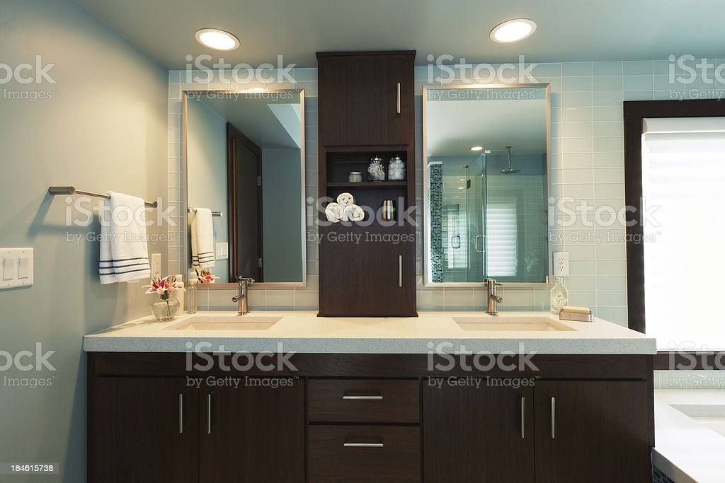 Vanity Sink and Bathtub of Modern Residential Home Bathroom Design stock photo