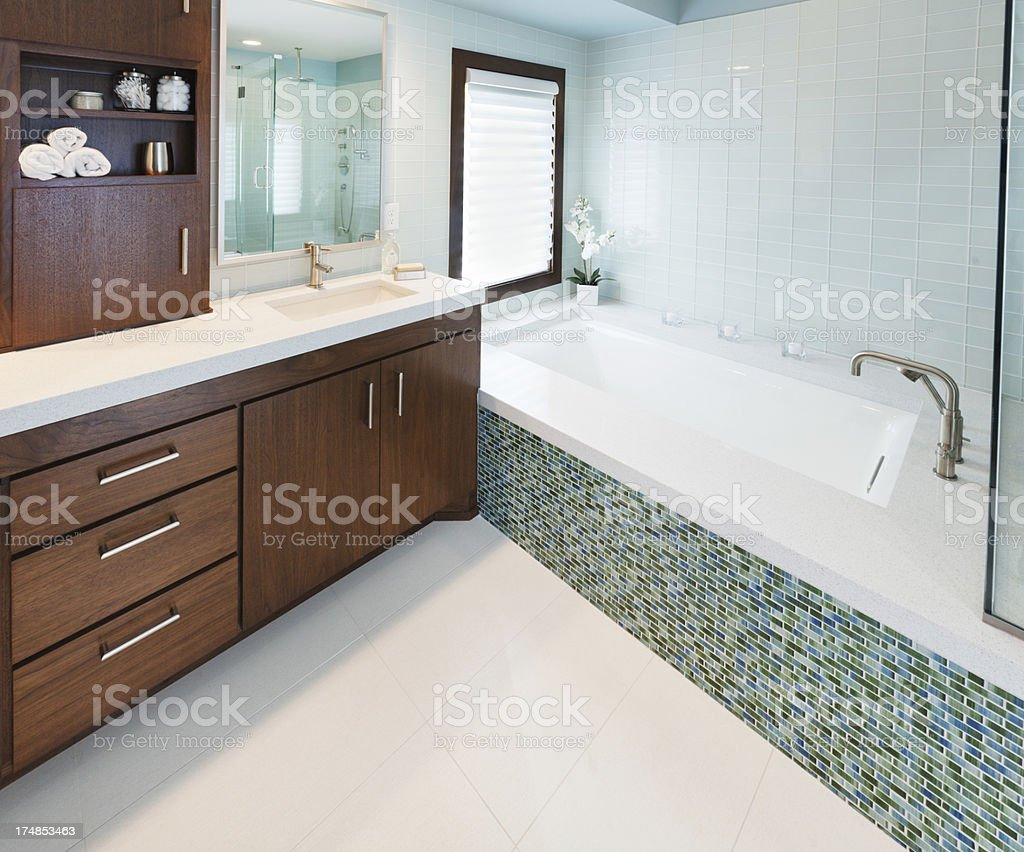 Vanity Sink, Bath and Shower of Modern Home Bathroom Design royalty-free stock photo