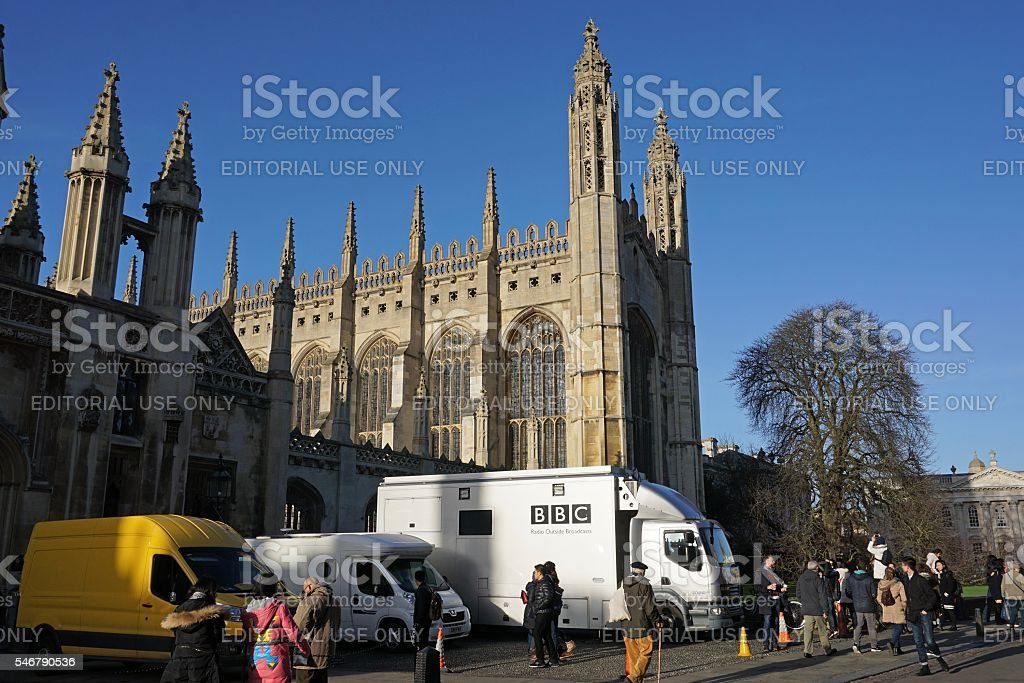 BBC Vans Outside King's College Chapel, Cambridge stock photo