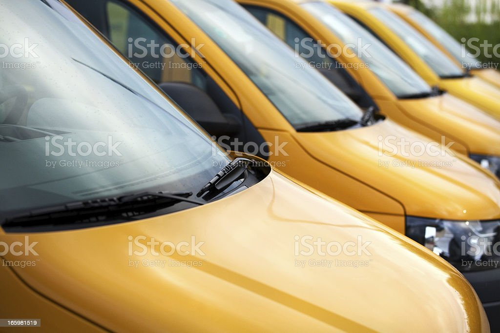Vans / Transporters in a row stock photo