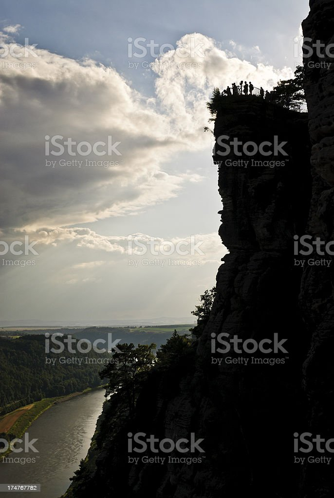 Vantage point above the river Elbe stock photo