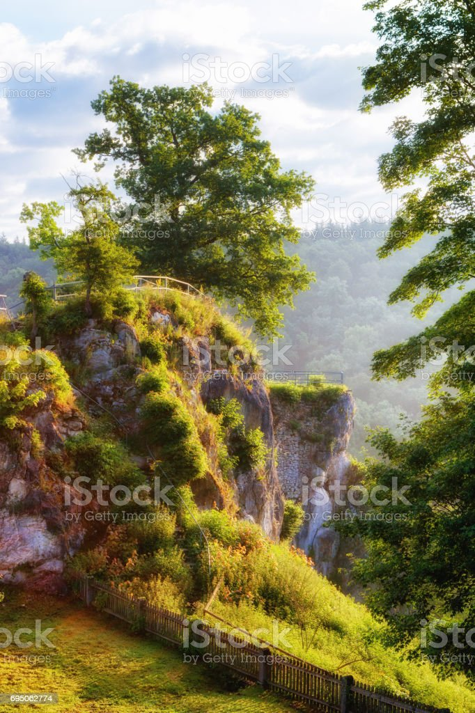 Vantage point of Burg Falkenstein above the Brenz river stock photo