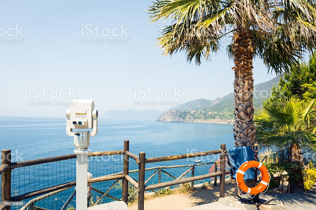 Vantage Point on the Mediterranean Coast, Manarola, Italy stock photo