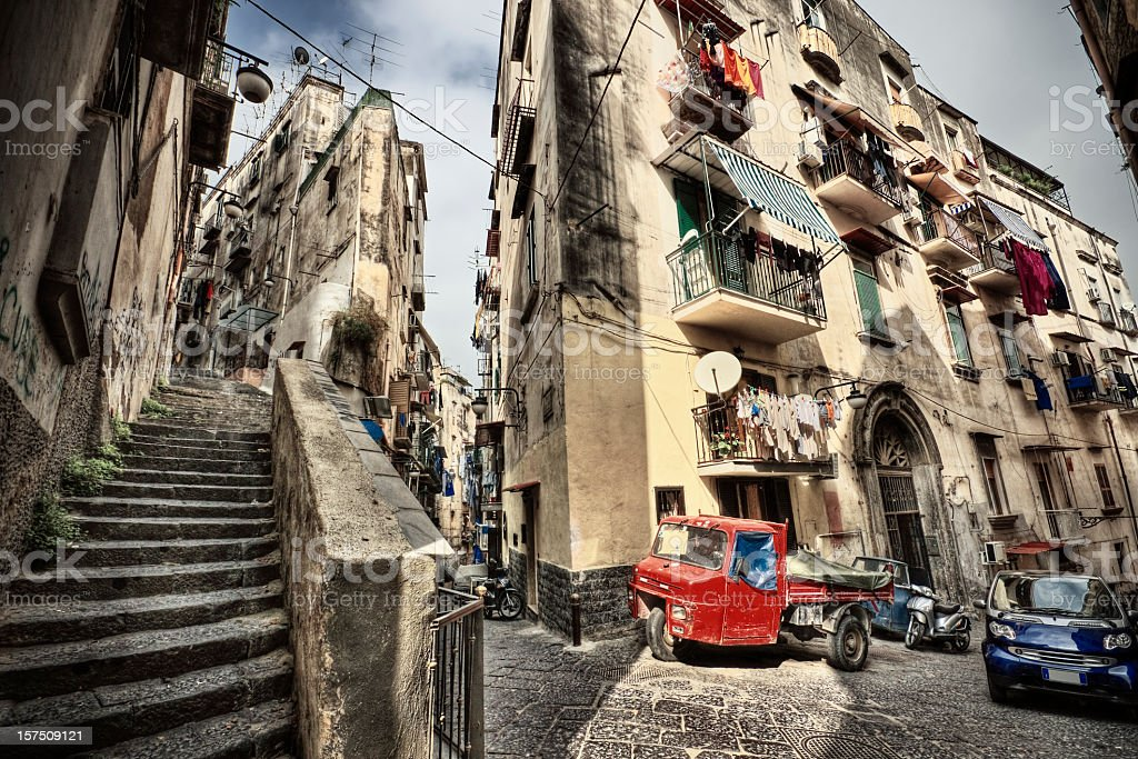 Vantage point shot of the streets of Naples in Italy stock photo
