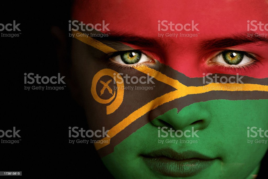 Vanuatu flag boy stock photo