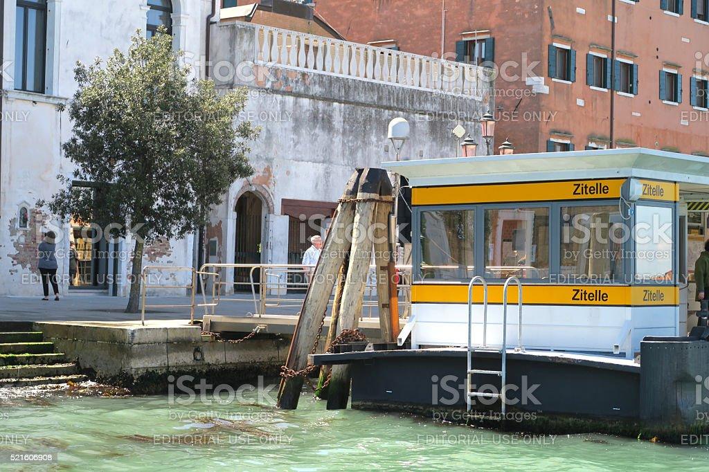 Vaperetto boat docking terminal at Zitelle stop stock photo
