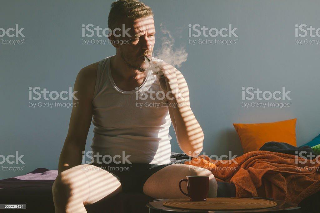 Vaping ecigarette in the morning stock photo