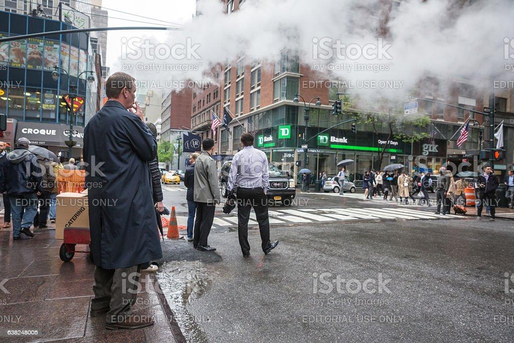 Vapor from street underground in NYC stock photo