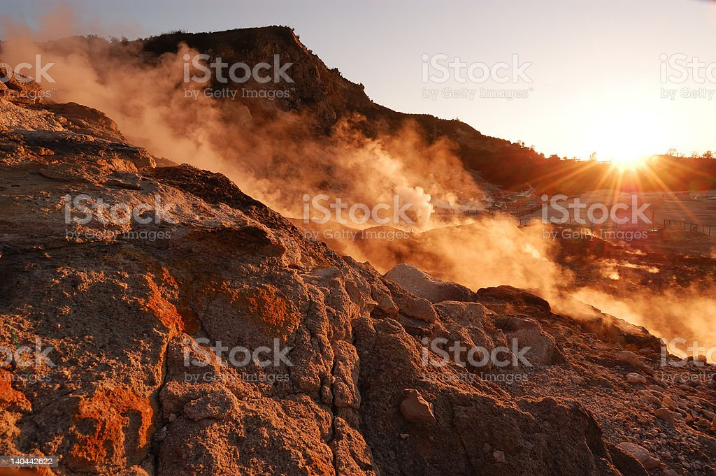 vapor in a volcano crater royalty-free stock photo