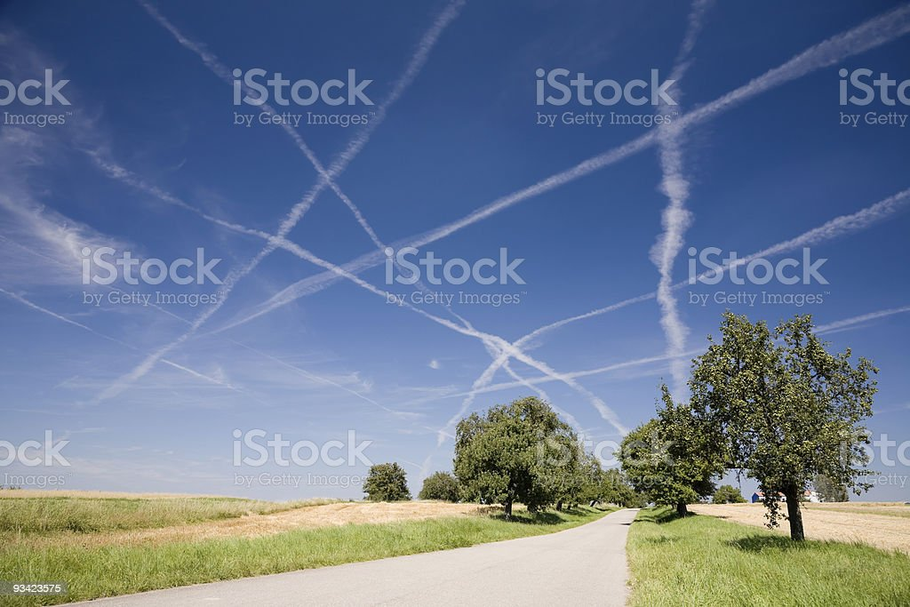 Vapor Trails in the Sky royalty-free stock photo