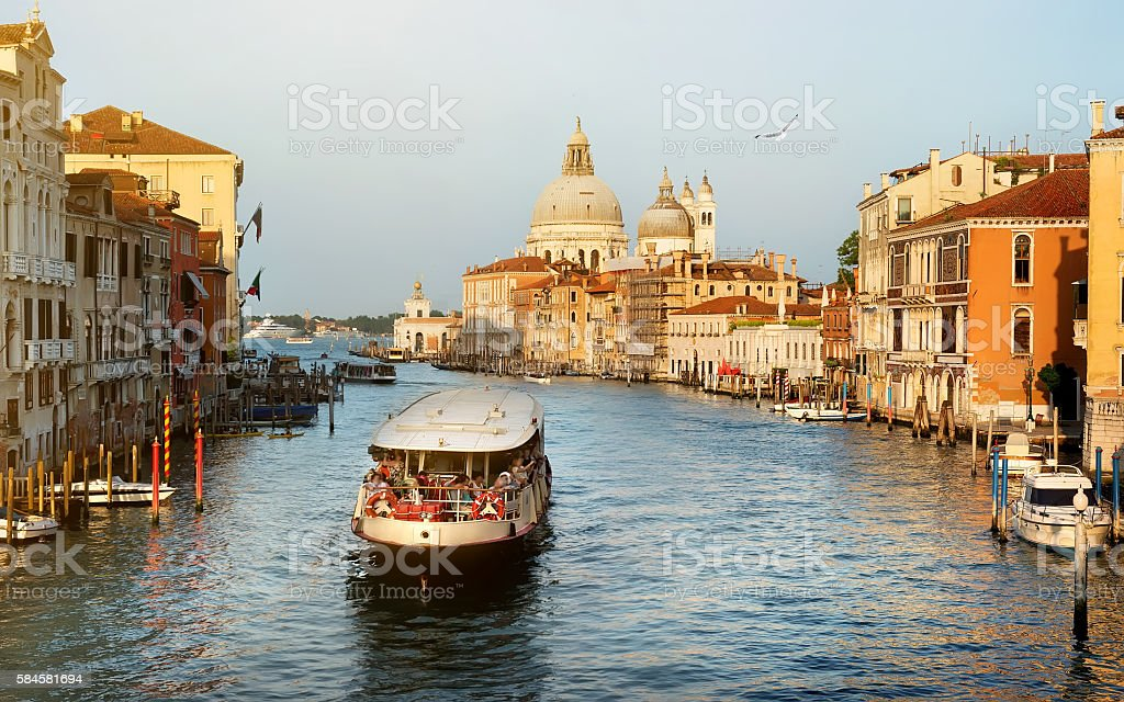 Vaporetto at  Grand Canal stock photo
