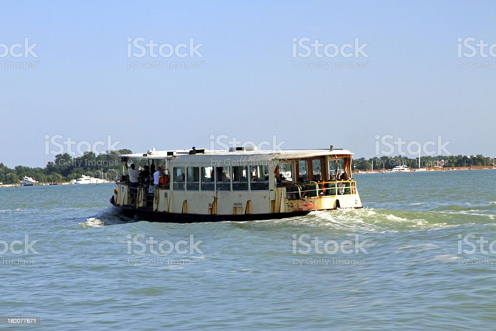 vaporetto in Venice for the transportation of tourists and famil stock photo