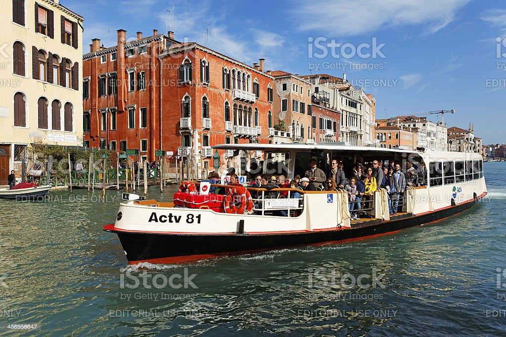 vaporetto on the grand canal in Venice stock photo