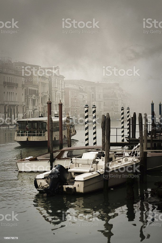 Vaporetto on the misty Grand Canal royalty-free stock photo