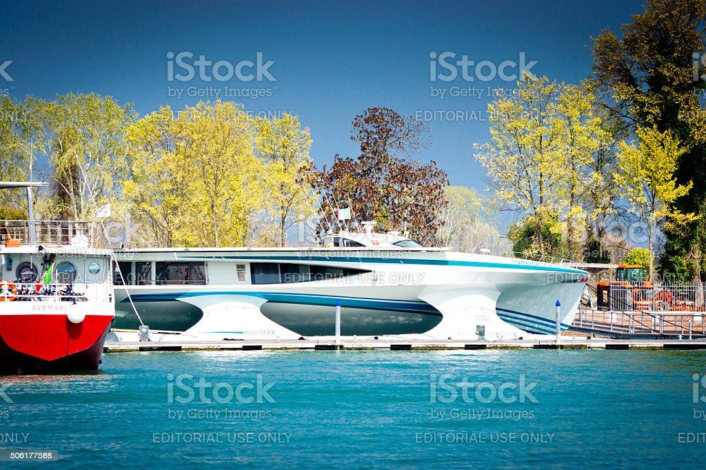 Vaporetto on Venice Lagoon stock photo