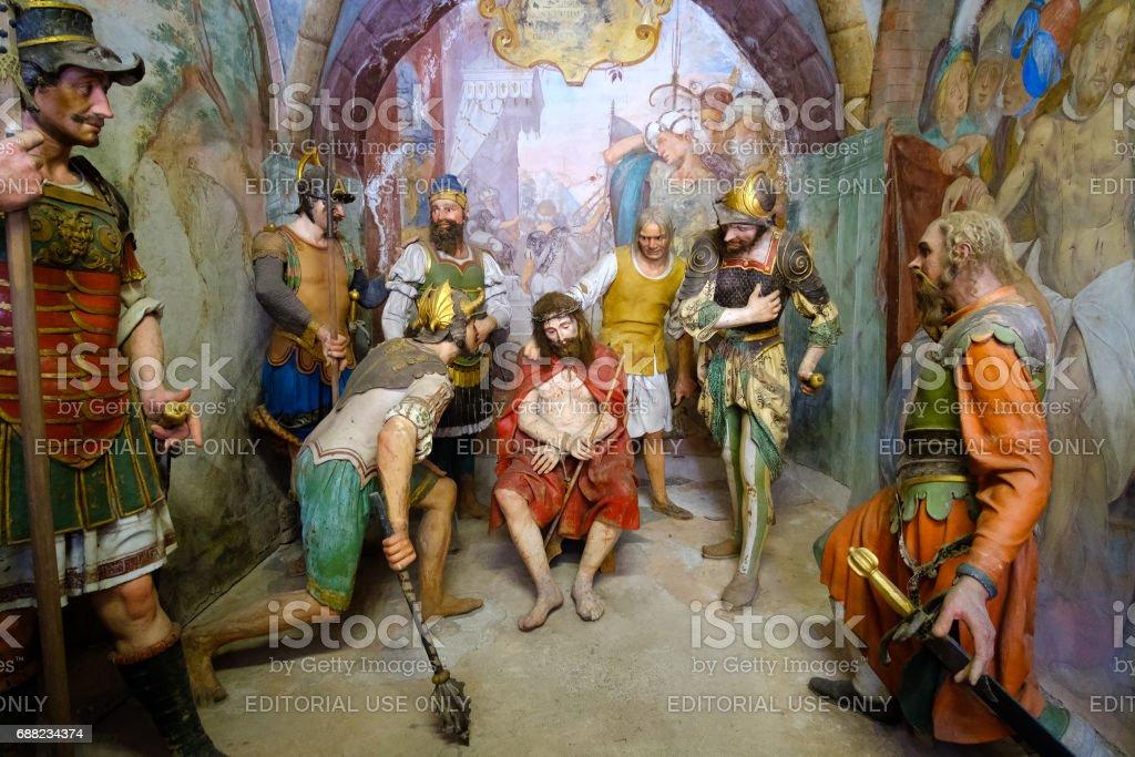 Varallo biblical scene representation Jesus Christ crowned thorns scourging flagellation stock photo
