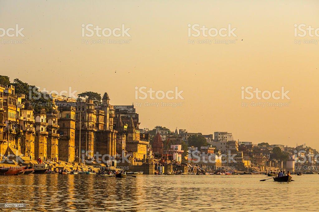 Varanasi at sunrise India stock photo