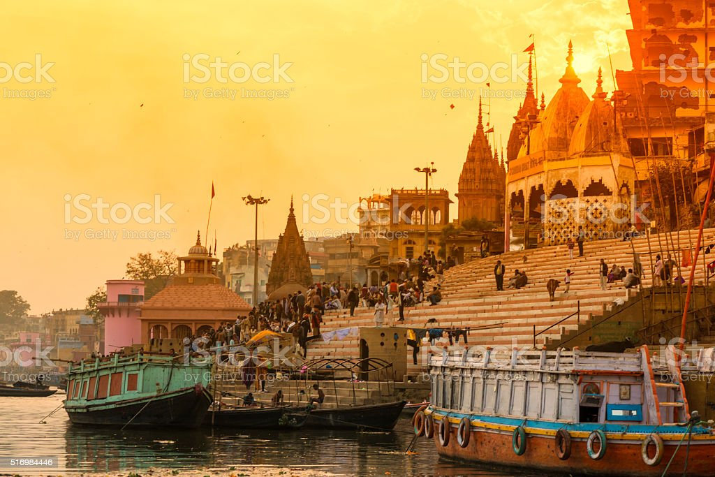 Varanasi burning grounds at night stock photo