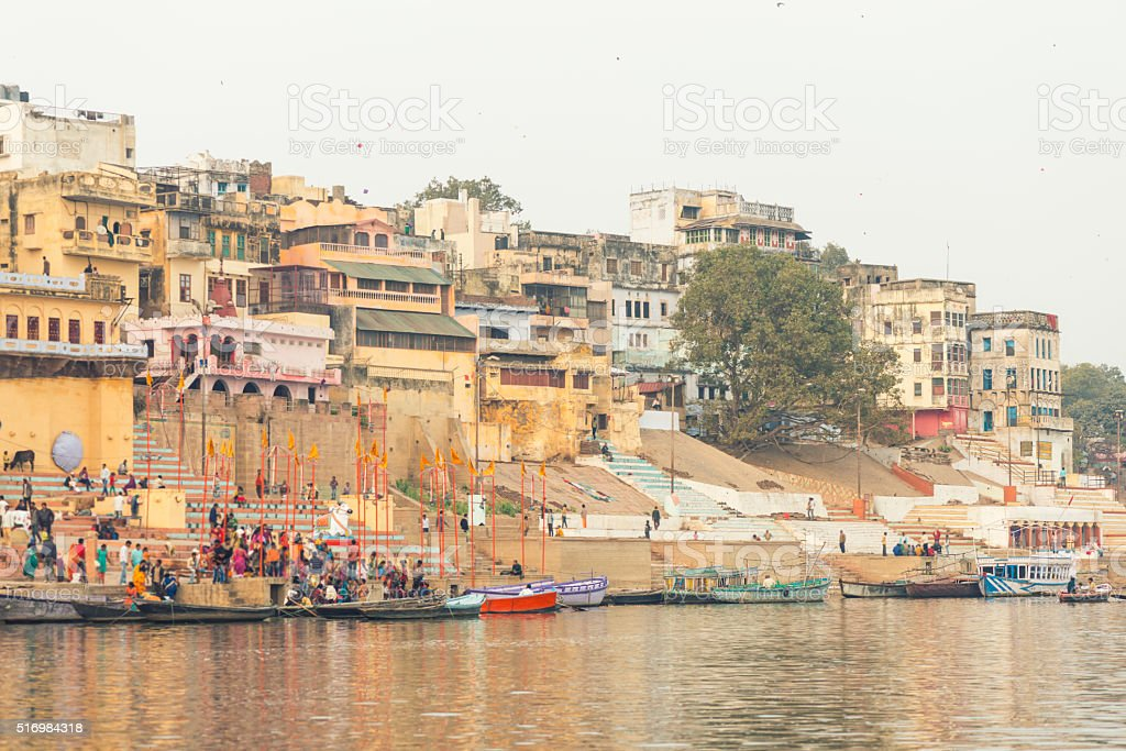 Varanasi burning grounds in the morning stock photo