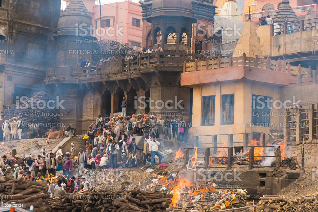 Varanasi burning grounds stock photo