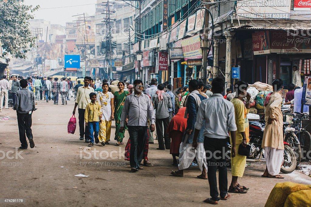 Varanasi crowd stock photo
