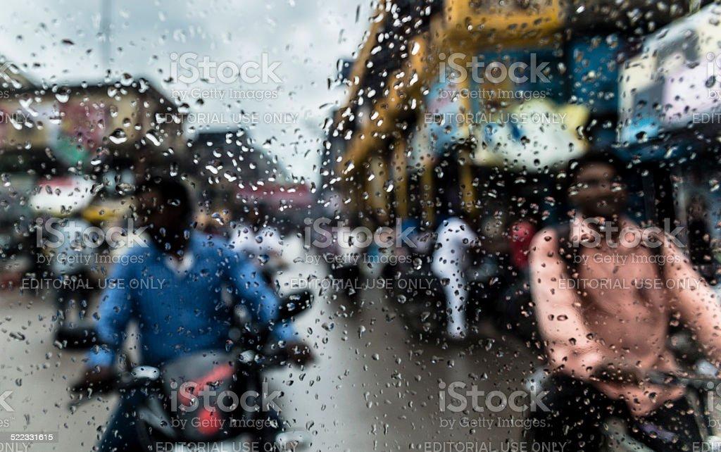 Varanasi from a car glass in a rainy day stock photo