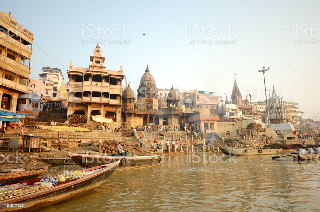 Varanasi holy place by the Ganges stock photo