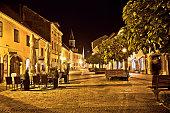 Varazdin baroque old street evening view