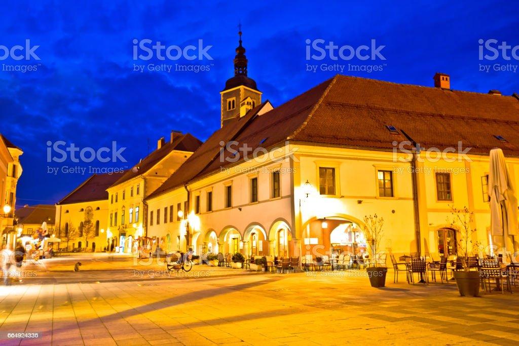 Varazdin baroque square evening view, northern Croatia stock photo