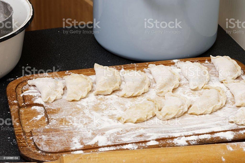 Vareniki - dumplings with cottage cheese stock photo