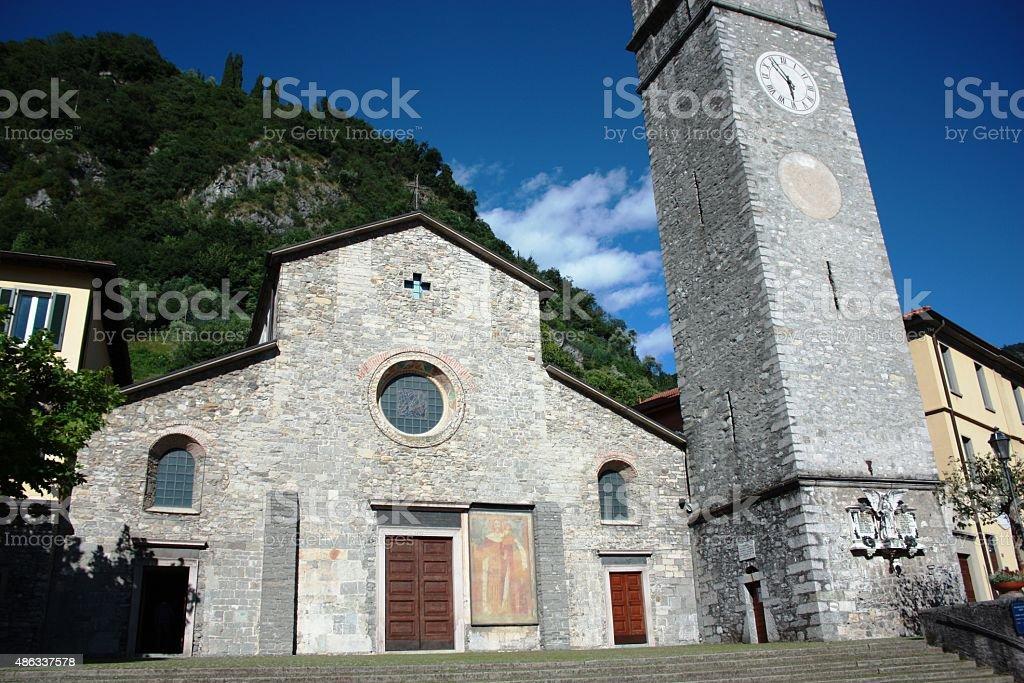 Varenna Church of San Giorgio at Lake Como, Italy stock photo