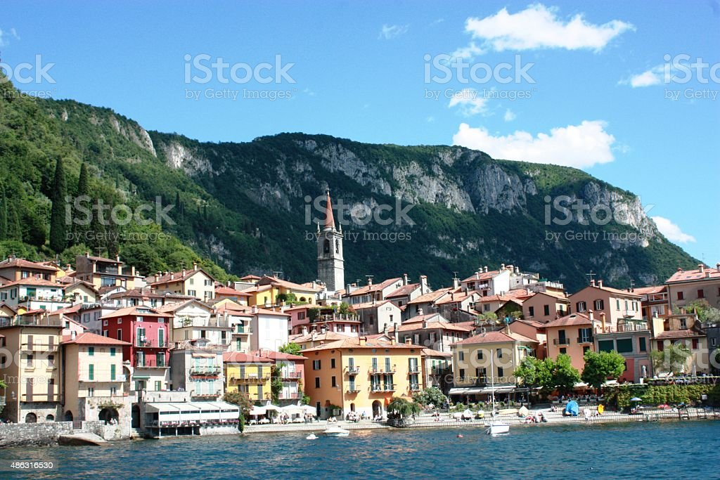 Varenna photographed from the car ferry, lake front Lake Como stock photo